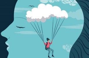 Donna dentro una testa con paracadute pensiero intuitivo