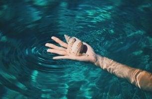Mano nell'acqua con una conchiglia, simbolo del saper scegliere le priorità