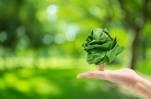 Mano con un albero di carta psicologia ambientale