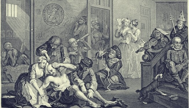 Quadro follia nel Medioevo di William Hogarth