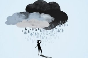 Sagoma umana sovrastata da nube perdita di memoria per depressione
