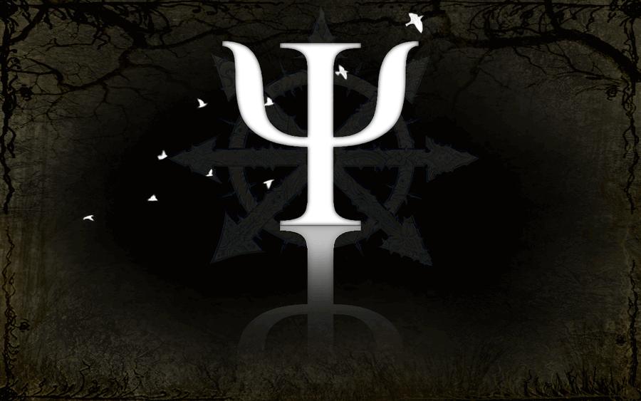 Simbolo psicologia bianco su sfondo nero