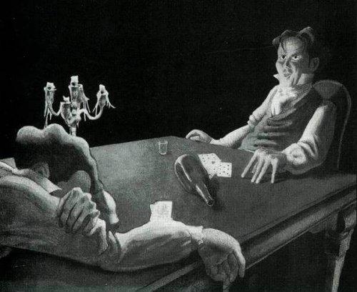 Uomini a un tavolo con delle carte William Wilson