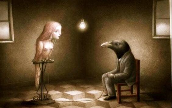 Uomo e donna metà uccello metà uomo