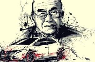 Soichiro Honda con un'automobile Honda