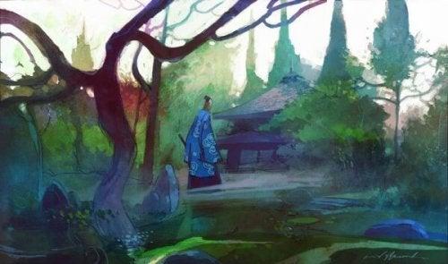 Anziano nel bosco che rappresenta la favola della felce e il bambù
