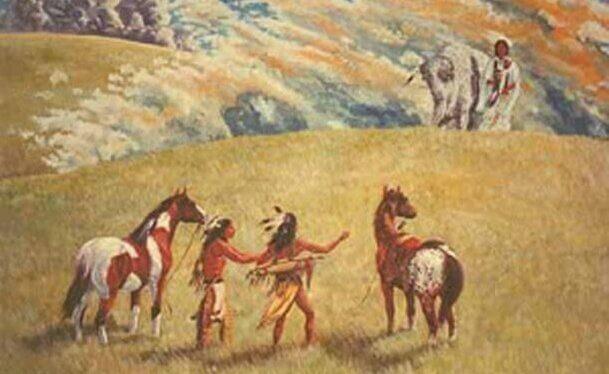 Incontro tra indigeni e donna del bufalo bianco