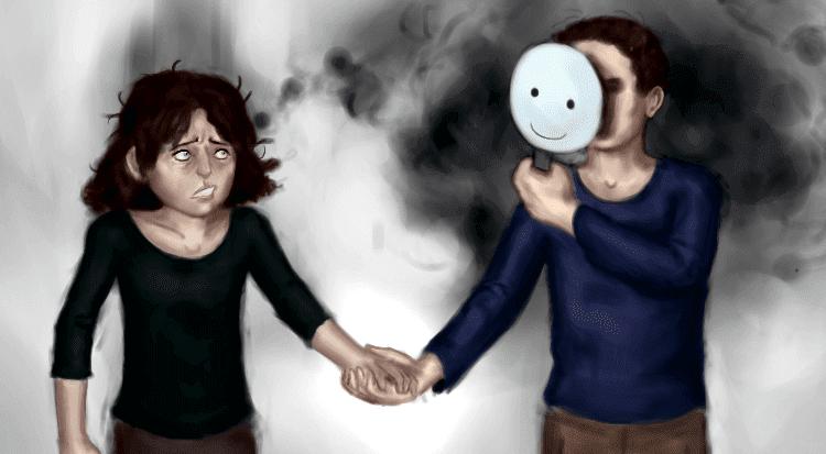 Coppia per la mano con fidanzato che indossa una maschera