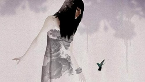 Donna con un colibrì