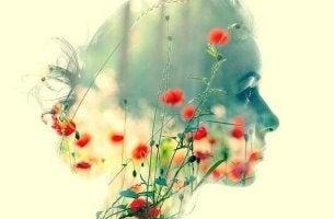 Donna e fiori - doppia esposizione
