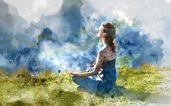 Donna medita in mezzo alla natura interocezione
