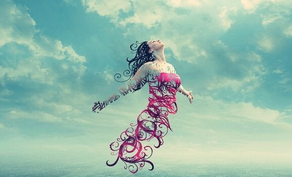 Figura femminile stilizzata sospesa in aria