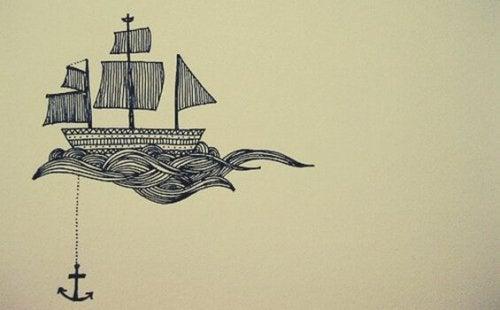 Illustrazione di una barca con un'ancora