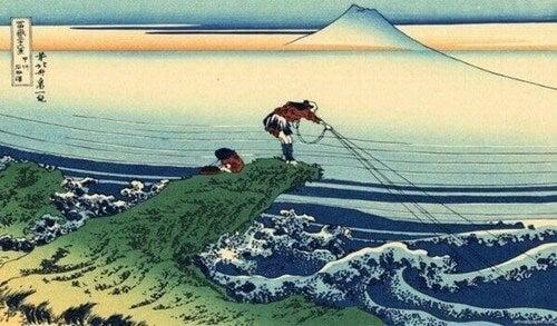 Illustrazione racconto il samurai e il pescatore