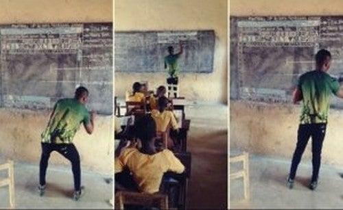 Professore ghanese insegna informatica con i gessetti