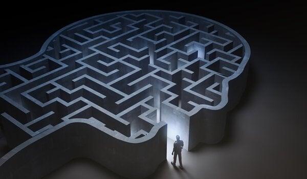 Uomo entra in un labirinto a forma di cervello