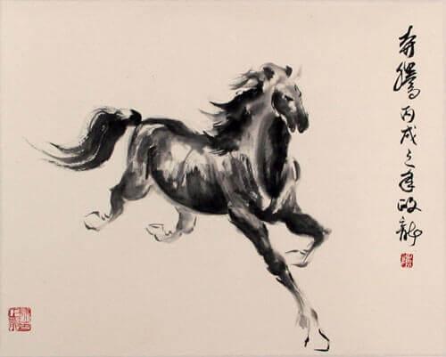 Cavallo in illustrazione cinese