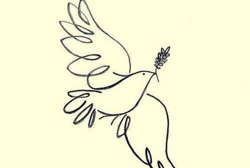 Colomba con ramo d'ulivo come simbolo di pace