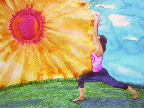 Donna che danza vicino al sole