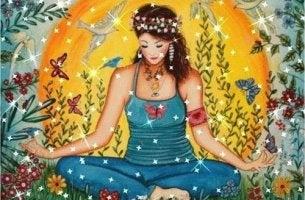 Ragazza medita su frasi contro la violenza