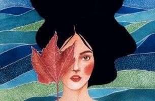 Ritratto di donna con foglia