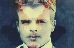 Sovrapposizione di Hermann Rorschach e un suo disegno