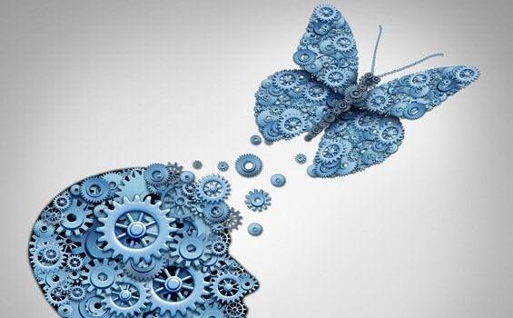 Testa e farfalla con ingranaggi