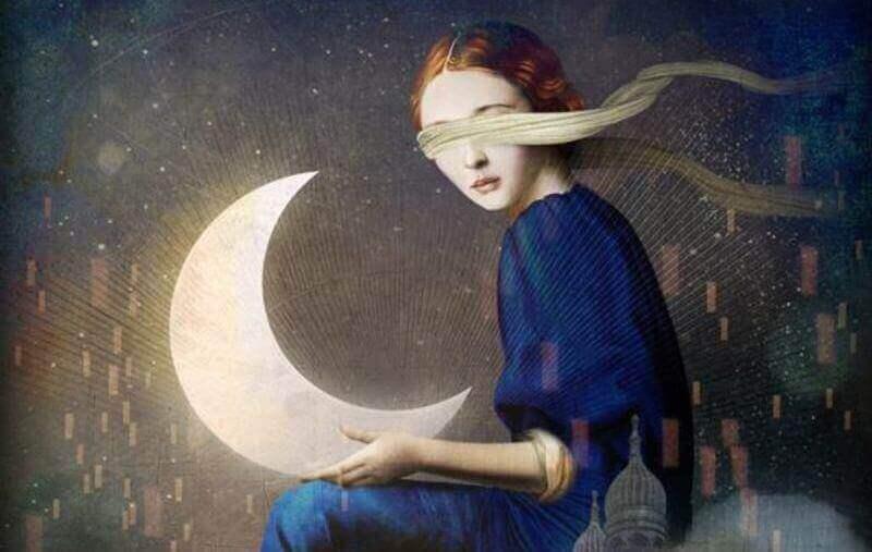 Donna con gli occhi bendati e luna tra le mani