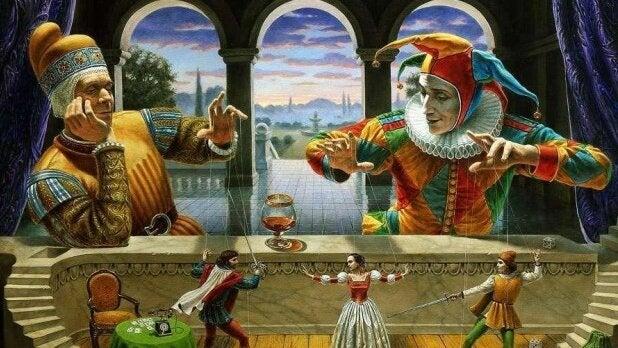 Giullare che muove marionette