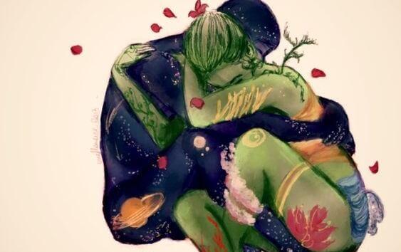 Immagine colorata di coppia abbracciata