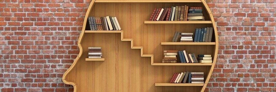 Libri ordinati in libreria a forma di testa metodologia della 5S
