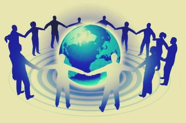 Persone a cerchio attorno al mondo regola dei tre gradi di influenza