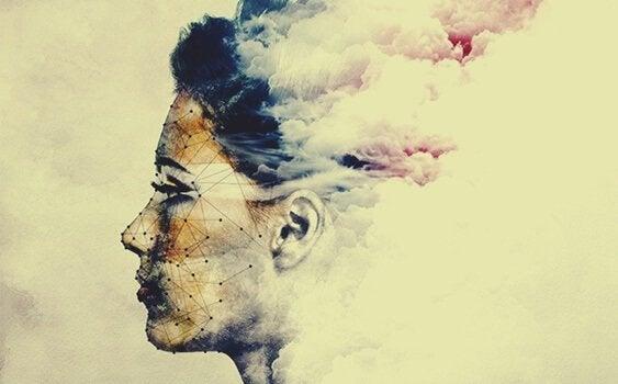 Viso femminile avvolto da nubi