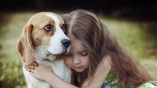 Bambina abbraccia il suo cane