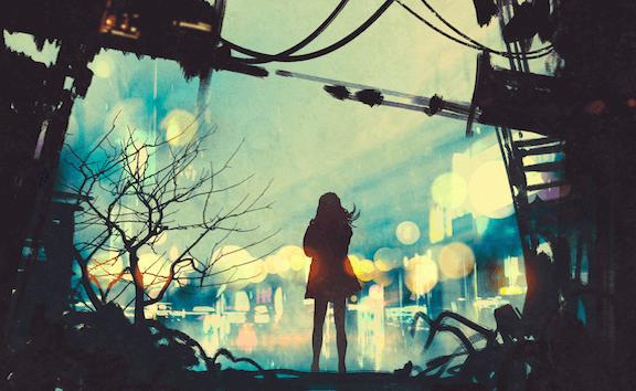 Donna di spalle in mezzo alla strada