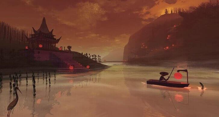 Immagine della Cina con barche