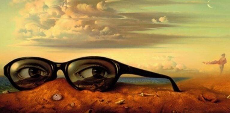 Occhiali con occhi poggiati a terra a rappresentare il modo in cui descriviamo gli altri