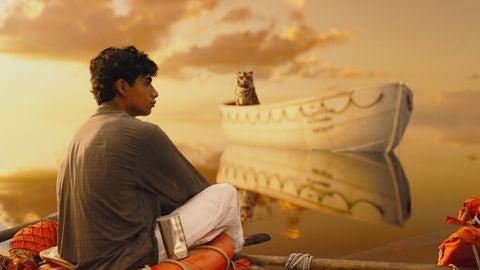 Pi in oceano con tigre che lo guarda