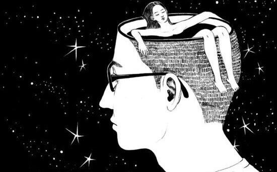Ragazzo con donna che fa bagno nella sua testa