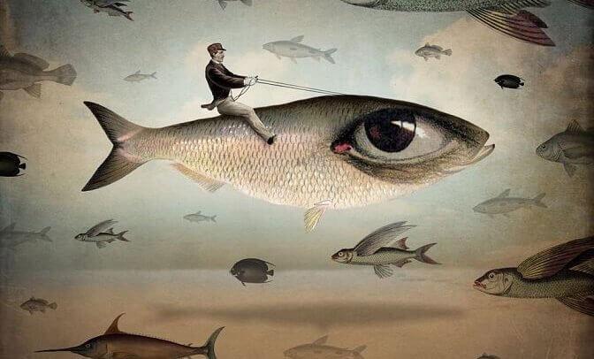 Uomo a cavalcioni su pesce con occhio
