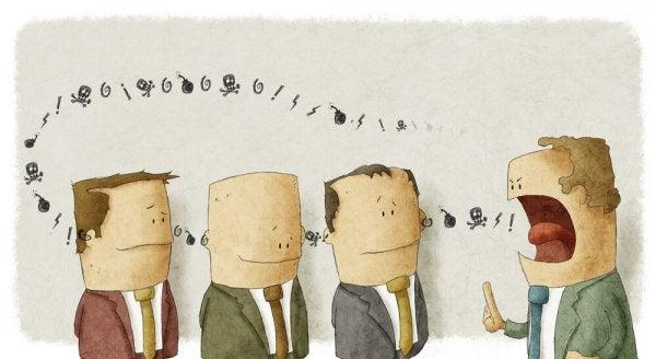 Vignetta con uomo che parla gridando ai suoi sottoposti