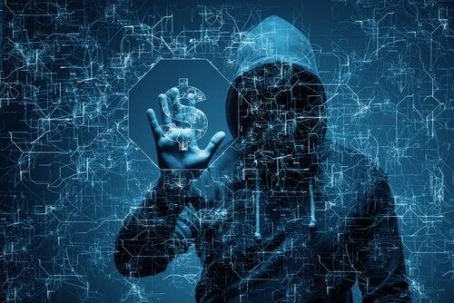 Hacker che ruba coordinate bancarie
