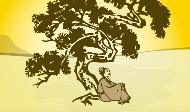 Uomo orientale sotto un albero