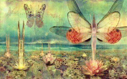 Immagine ritraente donne farfalla
