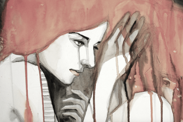 Pittura di donna triste di profilo