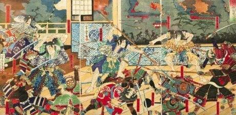 Pittura giapponese con rappresentazione di una battaglia tra samurai
