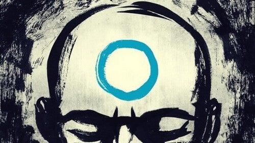 Uomo con un cerchio sulla fronte