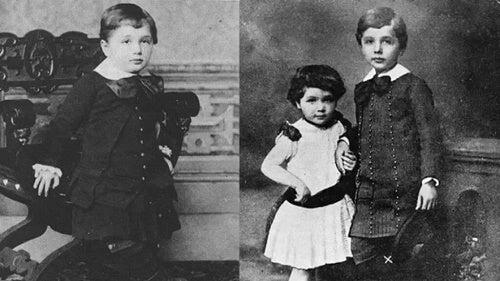 Due foto di Albert Einstein bambino