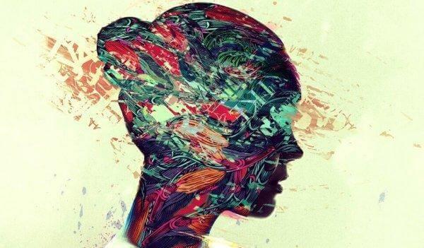 Profilo di donna colorato