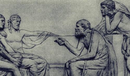 Socrate con discepoli